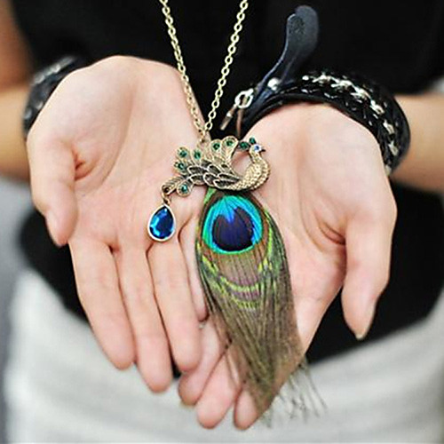 Canlyn Женская мода перья Павлина с бриллиантовое колье Lightinthebox 85.000