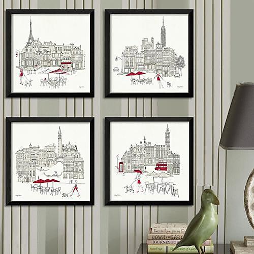 Эскиз городской пейзаж подставил Печать холст Набор из 4 Lightinthebox 3007.000