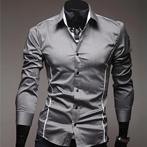 U & F Мужчины Стенд шеи серая рубашка Lightinthebox 601.000