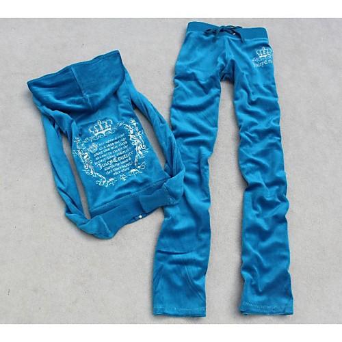 Женская утолщение Бархат Вышивка Повседневная Спортивный костюм Lightinthebox 2038.000