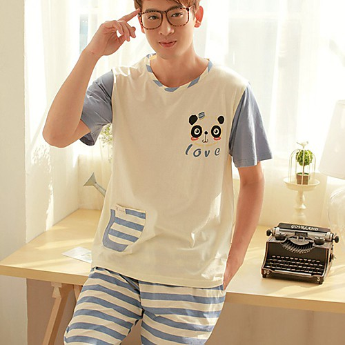 Мужская Panda печати Stripes Lounge Wear Lightinthebox 1144.000