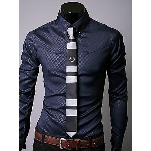 U & F Мужская Бизнес синий рубашка Lightinthebox 644.000