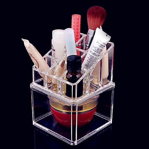 Акриловая Прозрачная комплекс Комбинированный двухслойные Косметика Коробка для хранения кисти для макияжа Пот Косметическая Организатор Lightinthebox 386.000