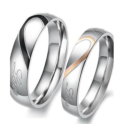 Для пары Кольца для пар Обручальное кольцо Двухцветные Сердце Любовь Дружба Дамы Свадьба Каждый день Нержавеющая сталь Титановая сталь Модные кольца Бижутерия Серебряный Назначение / 2pcs