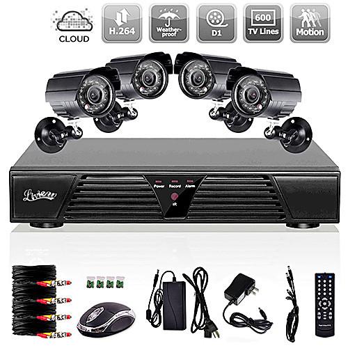 Система видеонаблюдения Liview 8-канальная Full D1 DVR с 4 внешними камерами 600TVLine для дневной/ночной съемки Lightinthebox 4296.000
