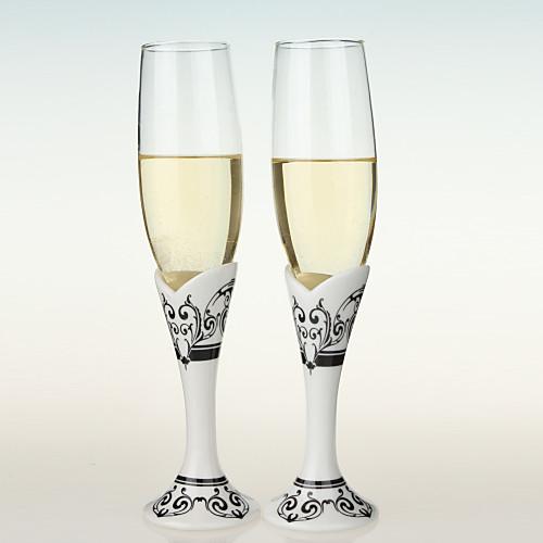 свадебный тост флейты с черными и белыми стволовых печати дамасской Lightinthebox 705.000
