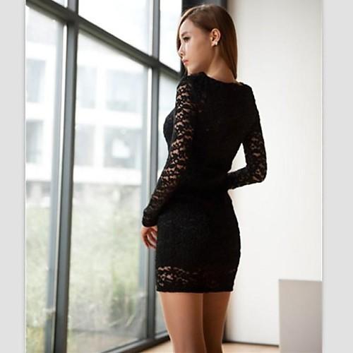 Женская Черный Кружева Тонкий Sexy Полые Длинные рукава платья Lightinthebox 641.000