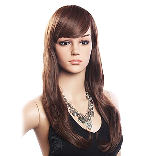 Высокое качество 20% человеческих волос и 80% термостойкого волокна волос монолитным длинными вьющимися Волнистые (темно-коричневый) Lightinthebox 1847.000