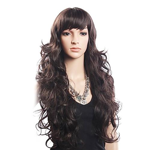 Высокое качество 20% человеческих волос и 80% термостойкого волокна волос монолитным длинными вьющимися Волнистые (русый) Lightinthebox 1847.000