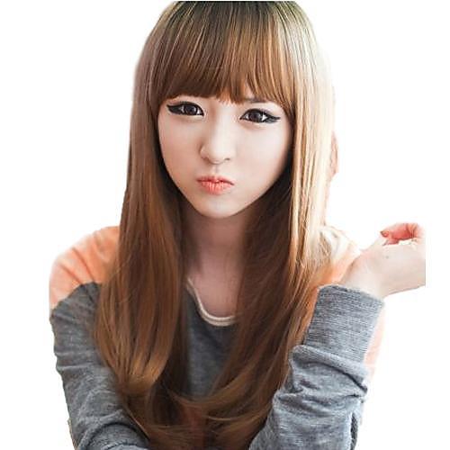 Мода волос Длинные прямые Синтетический Полный взрыва Парики Темно-русый Lightinthebox 816.000