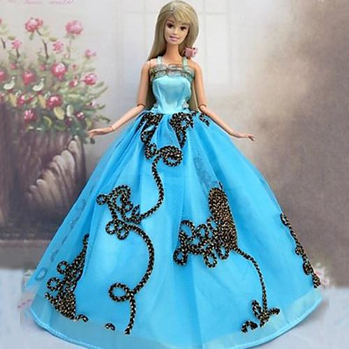 Кукла Барби морской Королева Синий Ambroidered принцессы Свадебное платье Lightinthebox 343.000