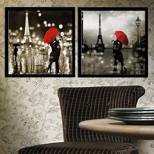 Forcet Париж Архитектура подставил Печать холст Набор из 2 Lightinthebox 3007.000