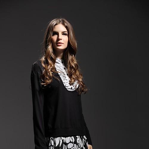 Женская шифон Нет Воротник футболка с длинным рукавом Lightinthebox 1116.000