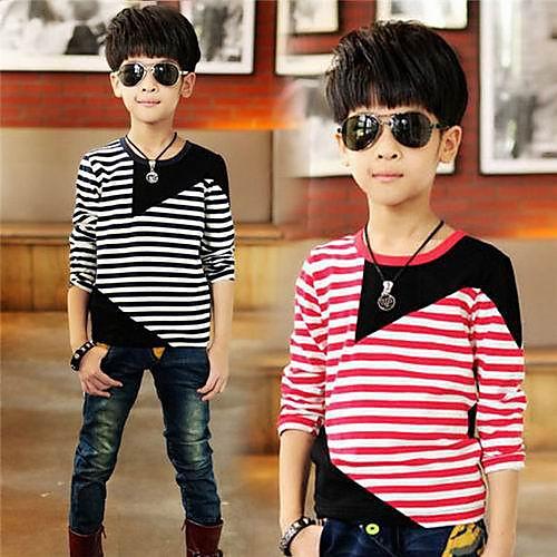 Круглым воротом Color Matching полосы мальчика с длинными рукавами футболки Lightinthebox 1116.000