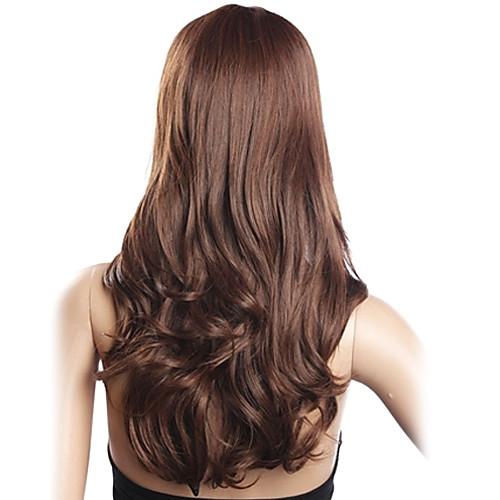 Высокое качество 20% человеческих волос и 80% термостойкого волокна волос монолитным длинными вьющимися Волнистые (темно-коричневый) Lightinthebox 1933.000