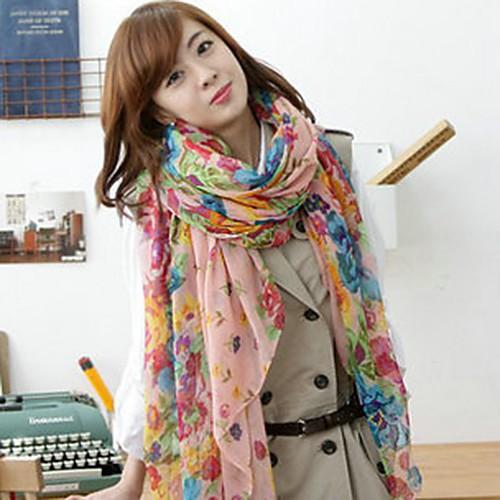 Женская Красочный цветочный печати Париж Двор шарф Lightinthebox 386.000