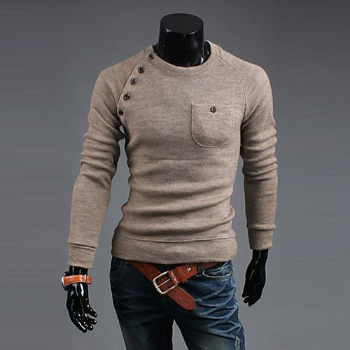 Этот человек корейский стиль Горячий продавать Нерегулярные Кнопки свитер футболка Lightinthebox 1289.000