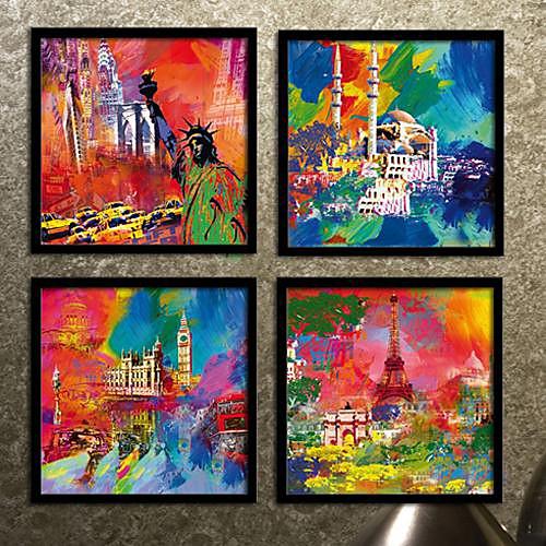 Город Красочные Архитектура подставил Печать холст Набор из 4 Lightinthebox 3007.000
