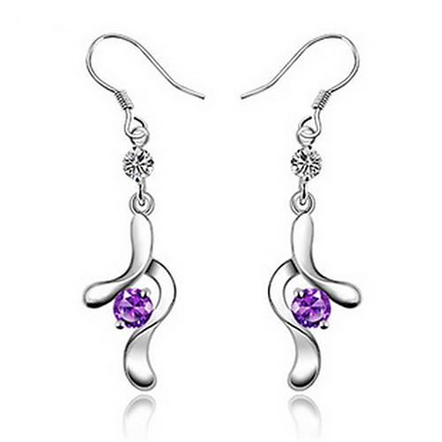 Элегантный Посеребренная Серебро с фиолетовым Cubic лентой циркония падение женского сережкой Lightinthebox 243.000