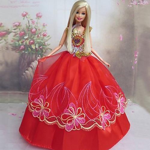 Кукла Барби Красный Кружева китайский стиль свадебное платье Lightinthebox 343.000