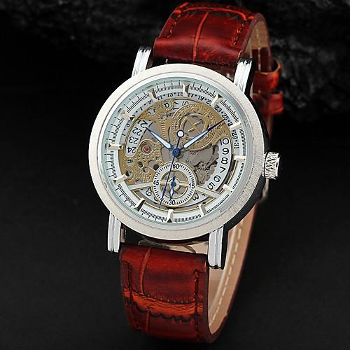 Мужская Авто-механический Hollow серебряным циферблатом Календарь Браун Кожаный ремешок наручные часы (разных цветов)