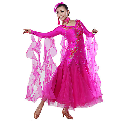 Блестящее выступление пришивания спандекс вискоза Современный танец платье (больше цветов)