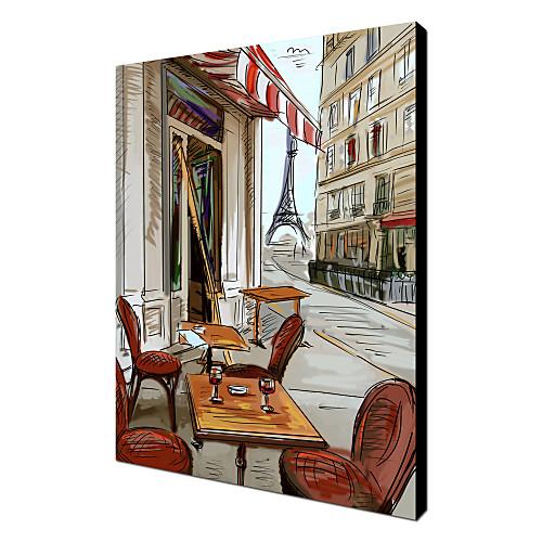 Натяжные Печать холст искусства пейзаж абстрактный Эйфелева башня в конце дороги Lightinthebox 1718.000