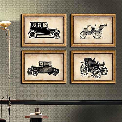 Пузырь автомобилей подставил Холст Натюрморт печати Набор 4 Lightinthebox 3866.000