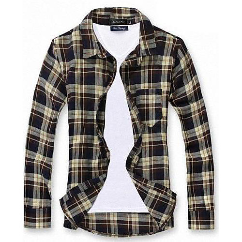 Мужская нагрудные Досуг Хлопок клетчатую рубашку Lightinthebox 781.000
