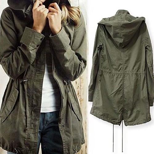 Женская Повседневная шнурок Военная Army Green Толстовка плащ куртка Lightinthebox 1256.000
