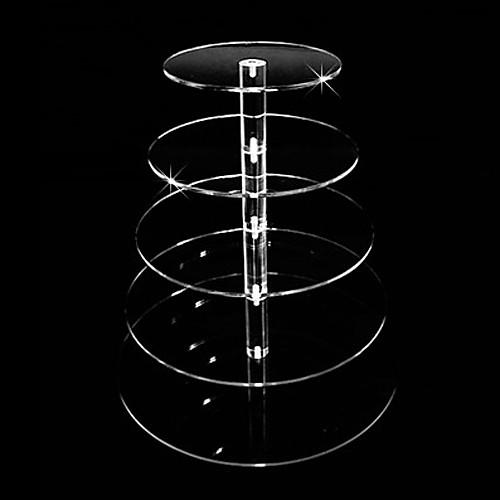 5 ярус кристально чистый круг вокруг акриловые кекс башни стенд свадьба день рождения торт украшения Lightinthebox 3093.000