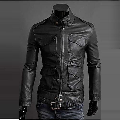 Reverie Uomo Мужская Мотоцикл черная кожаная куртка Lightinthebox 1374.000