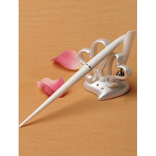 Настольная ручка с подставкой в виде двух милых сердец в свадебном стиле