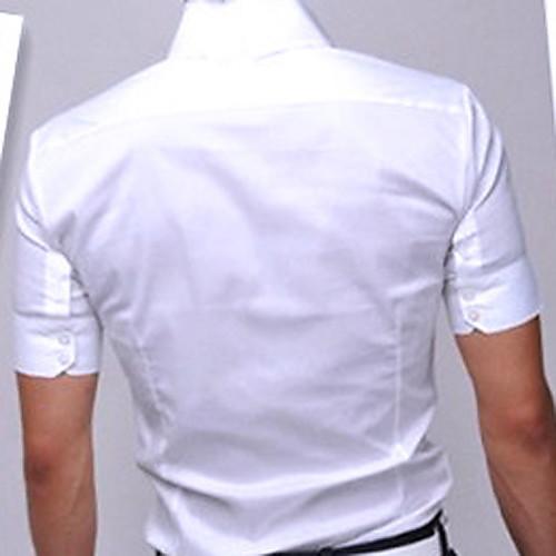 U & F Мужская Короткие рукава белая рубашка Lightinthebox 515.000