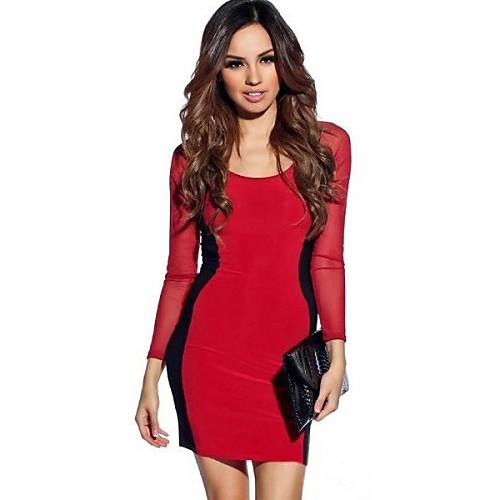 Женская Песочные часы сетка с длинными рукавами Bodycon платье Lightinthebox 586.000