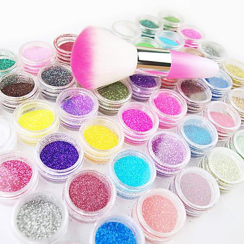 48-цвет порошок Блеск Nail Art украшения с Nail Art Кистевая насадка Lightinthebox 730.000