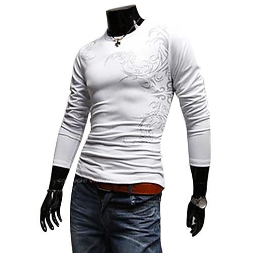 Модная картина татуировки с длинными рукавами Круглый шеи футболку - белый Lightinthebox 874.000