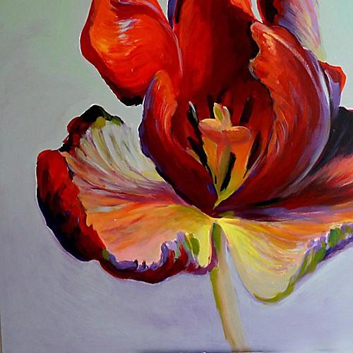 Ручная роспись маслом Цветочные один красный цветок с растянутыми кадров Lightinthebox 3437.000