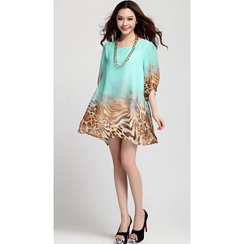 Puff рукавом громоздкая сумка Leopard шифон Половина рукава платья женщин (случайным образом) Lightinthebox 1256.000
