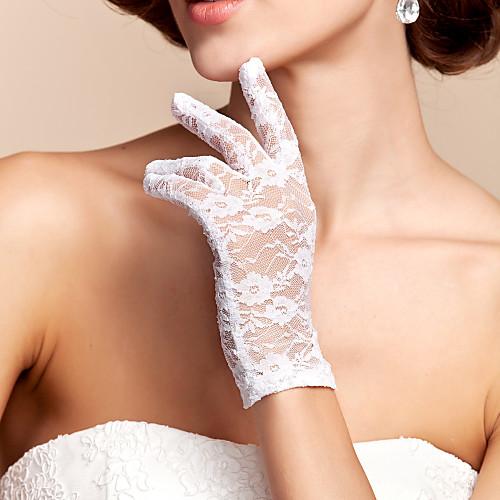 Кружева / Полиэстер До запястья Перчатка Классика / Свадебные перчатки С Однотонные, Черный
