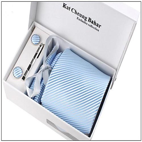 Мужская модная Голубой Полосатые полиэстер Галстуки Набор: галстук платок запонки заколка для галстука с коробкой Bag Lightinthebox 429.000