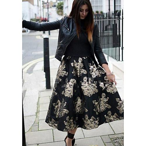 Женская Новые Случайный узор цветочный костюм (Лодка шеи рубашка  органза юбки)