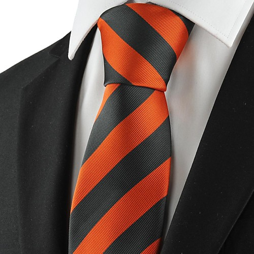 Поцелуй рулевой Новый Полосатый Оранжевый Черный Мужская Tie костюм Галстук Свадебная вечеринка Сувениры Lightinthebox 687.000