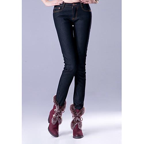 TS Простота Pure Color Тонкий вырезать черные джинсы Lightinthebox 697.000