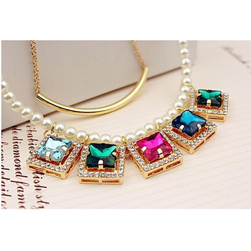 корейский двойной слой стиль babalusha женщин преувеличены красочные кристалл жемчужное ключицы цепи ожерелье Lightinthebox 257.000