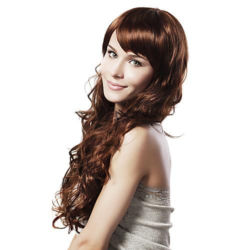 Синтетический парик без шапочки с коричневым волнистым волосом Lightinthebox 966.000