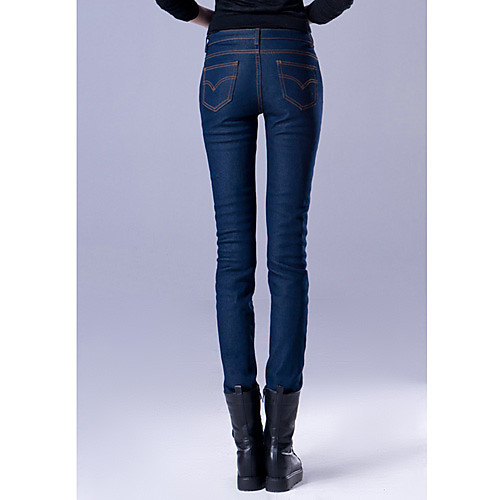 TS Простота Pure Color Тонкий Cut Blue Jeans Lightinthebox 697.000
