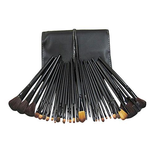 Pro 32 ПК натурального козьего волос кисти для макияжа Набор Черная PU Белый Line мешок Lightinthebox 966.000