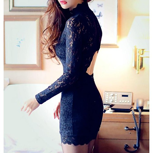 Женская Высокий воротник спинки Черный Sexy Party мини-платье Lightinthebox 781.000