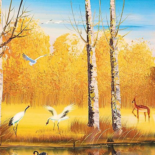 Ручная роспись маслом Пейзажная Лебединое рис с растянутыми кадр Набор 4 Lightinthebox 8507.000